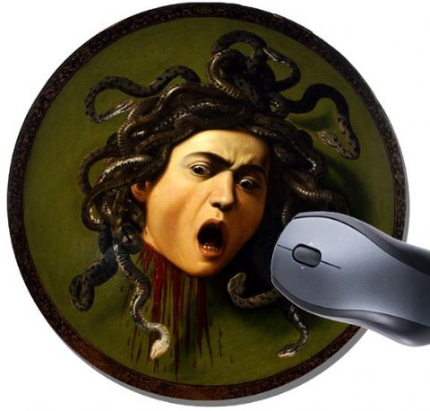 Caravaggio Medusa Round Mouse Pad. High Quality Classic Art Mouse Mat